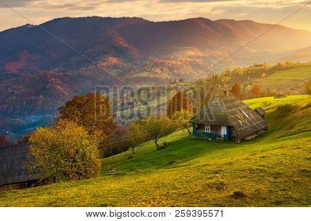 Gorgeous Mountainous Countryside At Sunrise. Beautiful Rural Area. Village On The Hillside