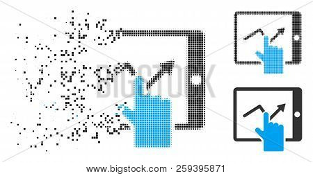 Tap Trend On Pda Icon In Fragmented, Dotted Halftone And Whole Versions. Points Are Grouped Into Vec