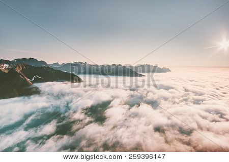 Clouds And Mountains Aerial View Landscape In Norway Travel Destinations Tranquil Idyllic Scenery
