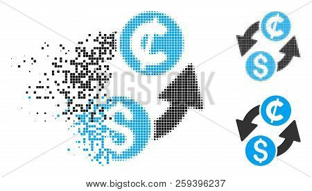 Dollar Cent Exchange Icon In Dispersed, Pixelated Halftone And Whole Versions. Pieces Are Organized