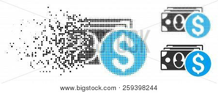 Cash Icon In Dissolved, Dotted Halftone And Solid Versions. Points Are Arranged Into Vector Dissipat