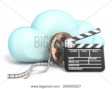 Cloud Icon Vith Movie Tape And Clapper 3d Rendering Isolated On White Background