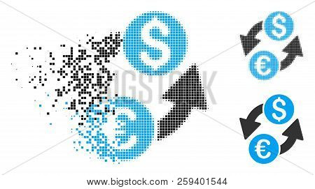 Euro Dollar Exchange Icon In Dispersed, Pixelated Halftone And Original Versions. Particles Are Grou