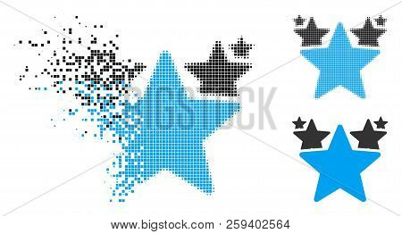 Stars Hit Parade Icon In Dispersed, Dotted Halftone And Entire Versions. Points Are Composed Into Ve