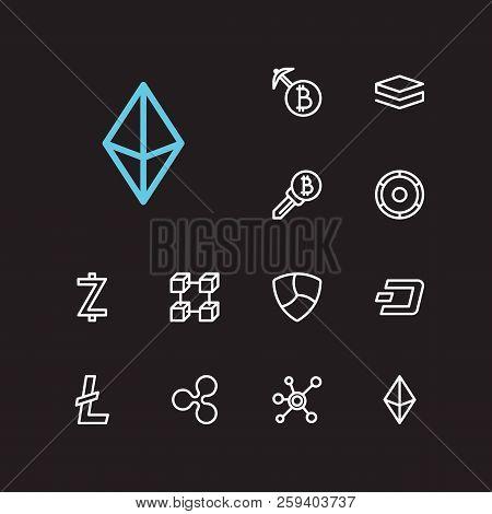 Blockchain Icons Set. Altcoin And Blockchain Icons With Litecoin, Ethereum And Blockchain. Set Of Id