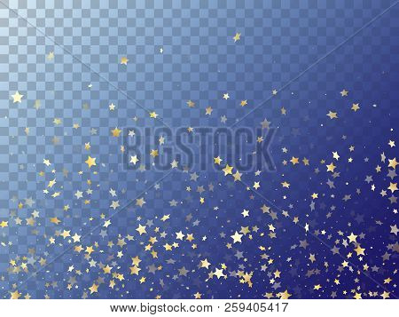 Star Shining Gold Gradient Sparkles On Transparent Background. Trendy Vector Magic Stars Gold Fallin
