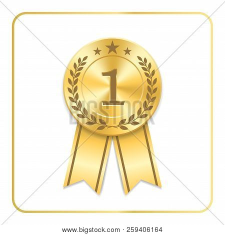 Award Ribbon Gold Icon. Blank Medal With Laurel Wreath Isolated White Background. Stamp Rosette Desi