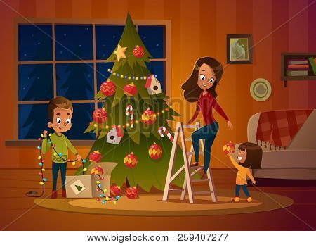 Happy Family Mom And Two Children Dresses Up Christmas Tree. The Boy Unwinds The Garland. Family In