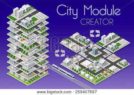 City Module Creator Isometric Concept Of Urban Infrastructure