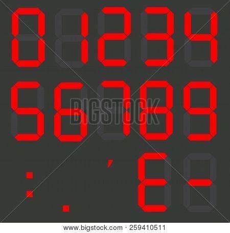 Set Of Calculator Digital Numbers. Electronic Figures. Lcd Digital Number. Red Clock Digital.