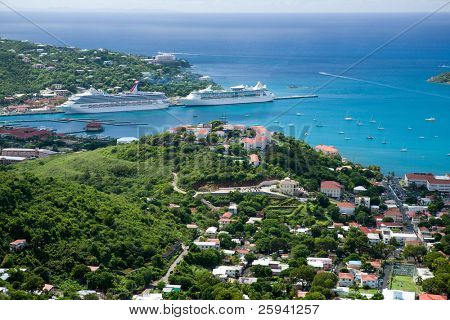 Aerial view of the island of St Thomas, USVI. Charlotte Amalie - cruise bay.