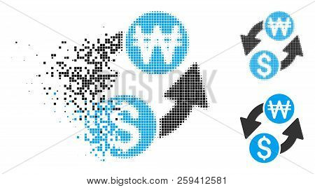 Dollar Korean Won Exchange Icon In Fragmented, Pixelated Halftone And Whole Versions. Fragments Are