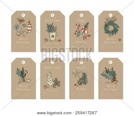 Vector Linear Design Christmas Greetings Elements On Craft Papers. Christmas Tags Set With Typograph
