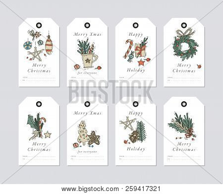 Vector Linear Design Christmas Greetings Elements On White Background. Christmas Tags Set With Typog