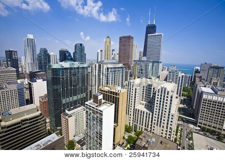 Summer view of Chicago skyscrapers from the height of 40Th floor.