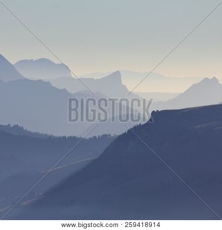 Silhouettes Of Mount Wiriehore And Other Mountains In The Bernese Oberland. View From Mount Niesen D