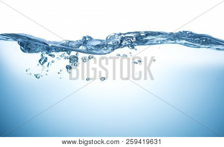 Blue Water With Air Bubbles Over White Background