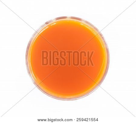 Closeup Top View Glass Of Fresh Carrot Juice Isolated On White Background, Healthy Diet Food Drink