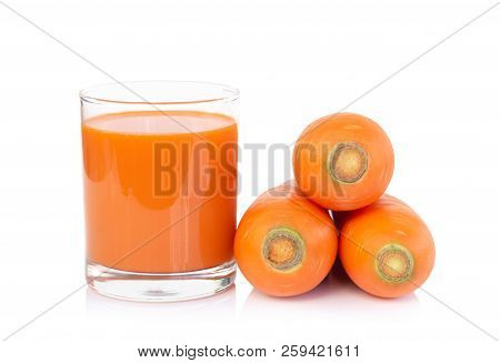 Closeup Glass Of Carrot Juice And Fresh Carrot Isolated On White Background, Healthy Diet Food Drink