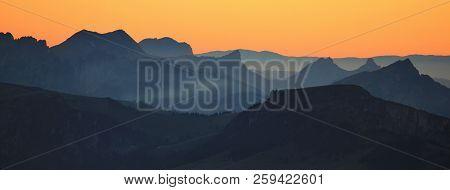 Mountain Ranges Seen From Mount Niesen At Sunset. Landscape In Switzerland.