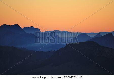 Stunning View From Mount Niesen, Switzerland. Sunset In The Swiss Alps