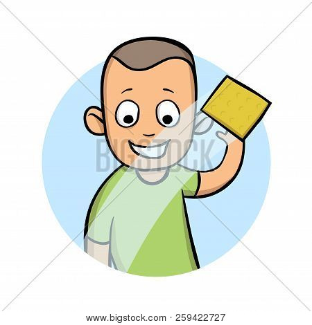 Young Man Wipes A Window Or A Car Glass With A Damp Cloth. Cartoon Vector Illustration, Isolated On
