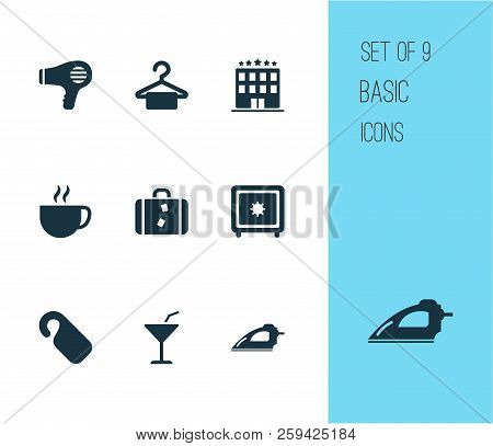 Tourism Icons Set With Hanger, Cup, Iron And Other Cloth Elements. Isolated  Illustration Tourism Ic