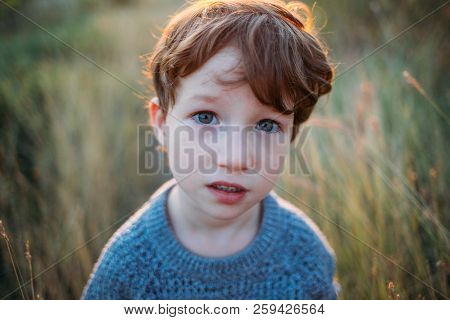 Kid Portrait, Sad Concentrated Baby. Deep Blue Beautiful Eyes. Children, Baby, People, Psychology, S