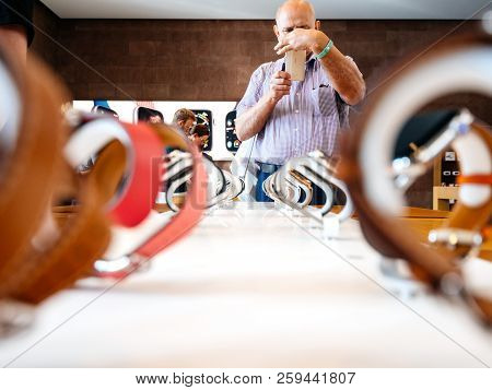 Strasbourg, France - Sep 21, 2018: Apple Store With Senior Male Customer Admiring The New Latest Wat