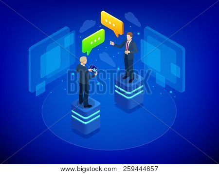 Isometric Business Negotiations Concept. Team Work Process. Business Management Teamwork Meeting And