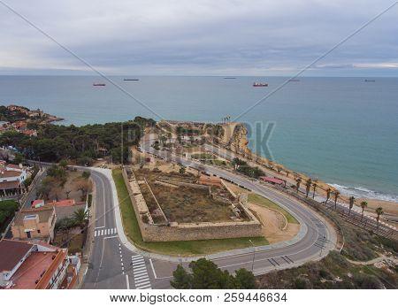 Aerial View Of The Stone Walls Of The Old Forts. Forti De Sant Jordi And Forti De La Reina, Taragona