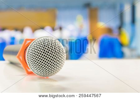 Close Up Microphone Wireless On The White Table In Business Conference Interior Seminar Meeting Room