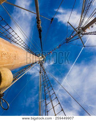 Mast and rigging refurbished old sail schooner. poster