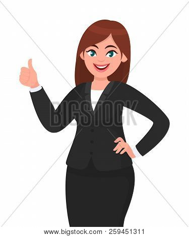 Beautiful Smiling Business Woman Showing Thumbs Up Sign / Gesture. Like, Agree, Approve, Positive Co
