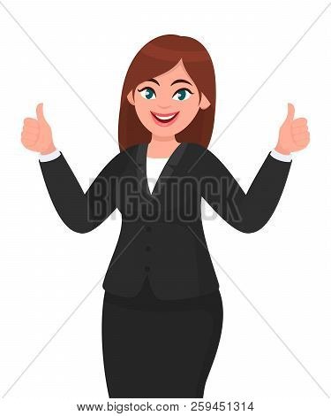 Beautiful Smiling Business Woman Showing Thumbs Up Sign / Gesturing With Both Hands. Like, Agree, Ap