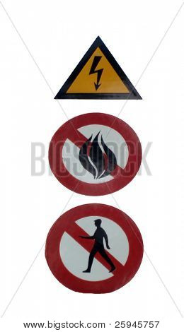 Three alert signs. First one warns against electricity, second one forbids fire a third one entrance.