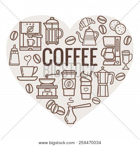 Coffee Heart Shape. Vector Coffee Elements And Coffee Accessories. Coffee Icons.