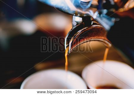 Professional Coffee Brewing -espresso Coffee Pouring From Espresso Machine Close Up