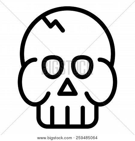 Skull Line Icon. Death's Head Vector Illustration Isolated On White. Brainpan Outline Style Design,