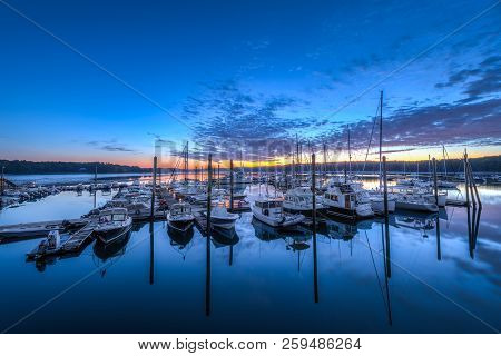 Maine Marina At Sunrise - Freeport, Maine, Usa