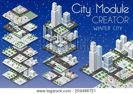 City Module Creator Isometric Concept Of Urban