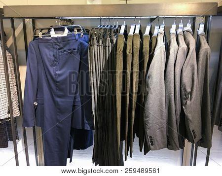 Shop of men's suits. Pants, sweater ,Business clothes,pants