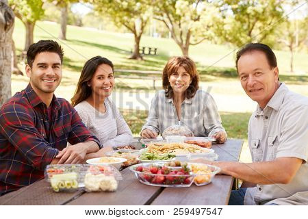 Adult couple and parents having a picnic smile to camera