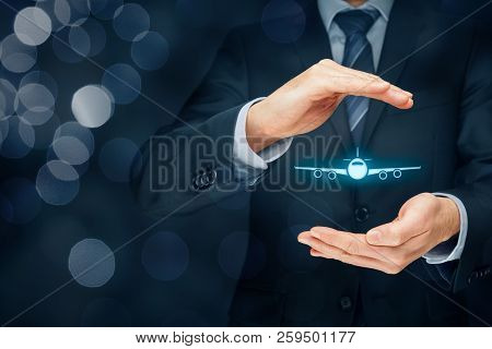 Travel Insurance Concept. Insurance Agent Or Businessman With Protective Gesture And Icon Of Plane.