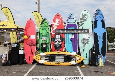 NORWALK, CT, USA-SEPTEMBER 20, 2018: Inflatable padle boards is shown in Progressive Norwalk Boat Show 2018.