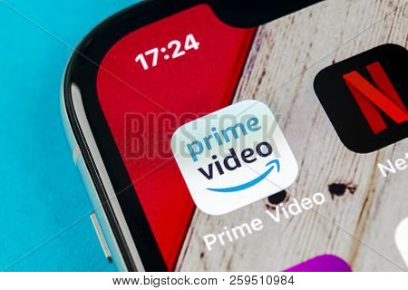Sankt-petersburg, Russia, September 10, 2018: Amazon Prime Video Application Icon On Apple Iphone X