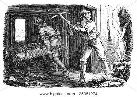 Men working in a silver mine. Illustration originally published in Ernst von Hesse-Wartegg's