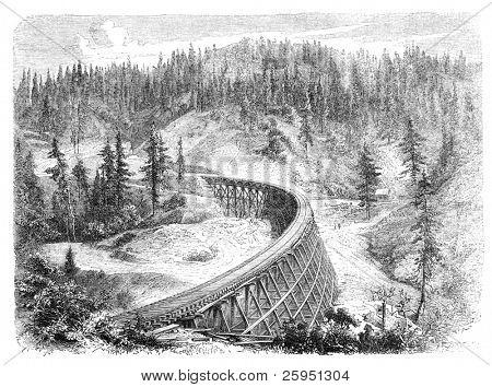 "Secret Town Trestle, California. Illustration originally published in Hesse-Wartegg's ""Nord Amerika"", swedish edition published in 1880."