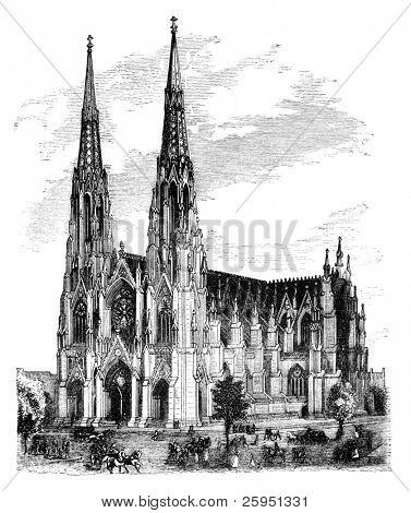 St. Patrick's Cathedral, New York. Illustration originally published in Hesse-Wartegg's