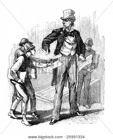 Boys selling newspapers to a gentleman in USA. Illustration originally published in Hesse-Wartegg's